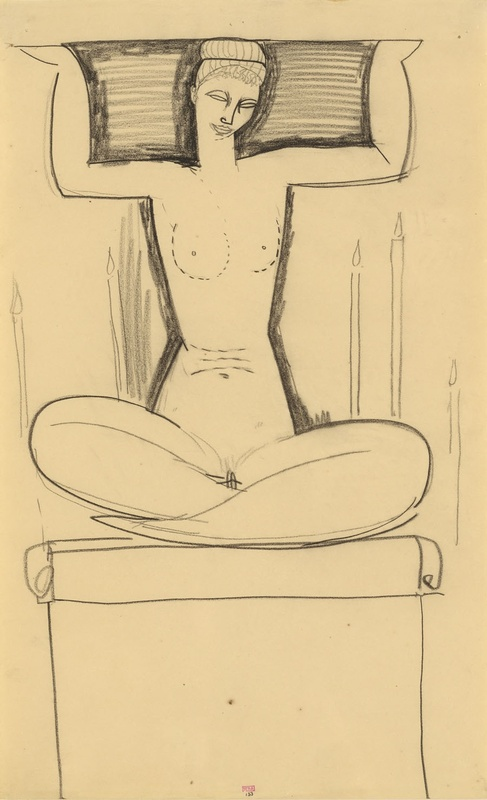 'Caryatid Seated on Plinth with Lighted Candles' c.1911